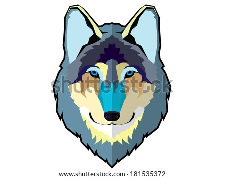 Graphic wolf head isolated - stock vector