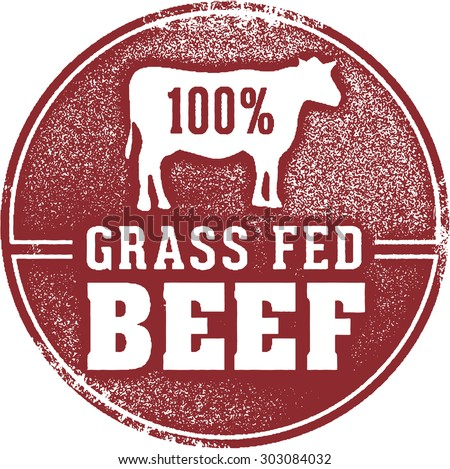 100% Grass Fed Beef Meat Stamp - stock vector