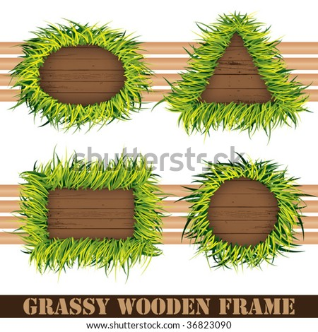 -grassy wooden frame- - stock vector