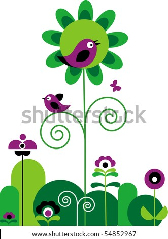 green and purple abstract flowers with swirls with butterfly and birds - stock vector