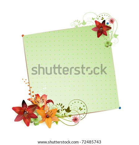 Green background with flowers isolated on white