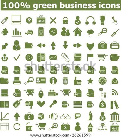 100 green business icons  - easy edit vectors set - stock vector