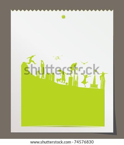 green cityscape, a fantasy background - stock vector