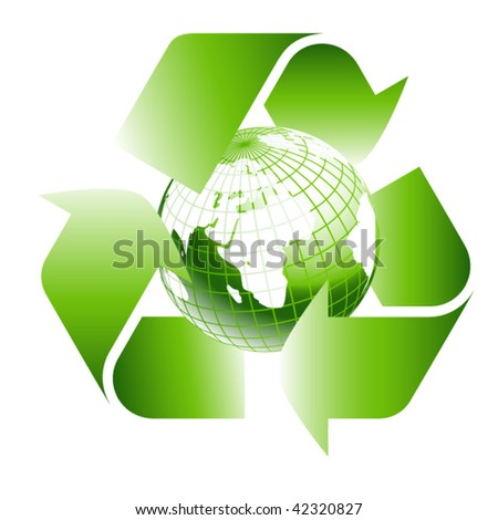 green earth inside recycle icon - stock vector