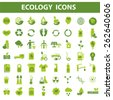 56 green ecology vector icons on white background - stock vector