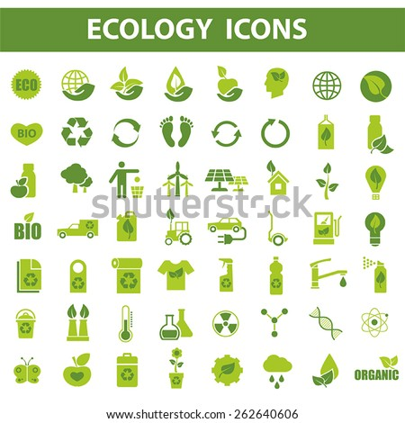 56 green ecology vector icons on white background