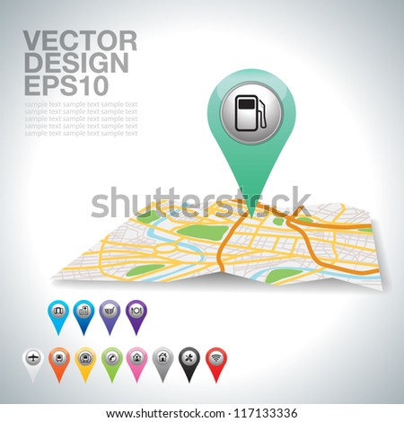 green gas station on map. - stock vector