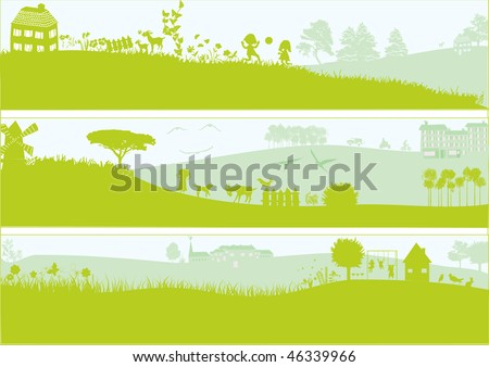 3 green landscapes - stock vector