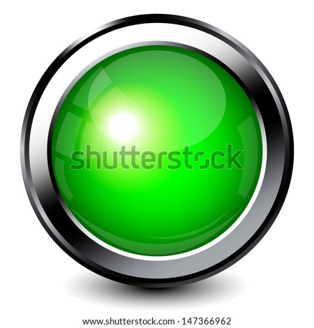Green shiny button with metallic elements - stock vector