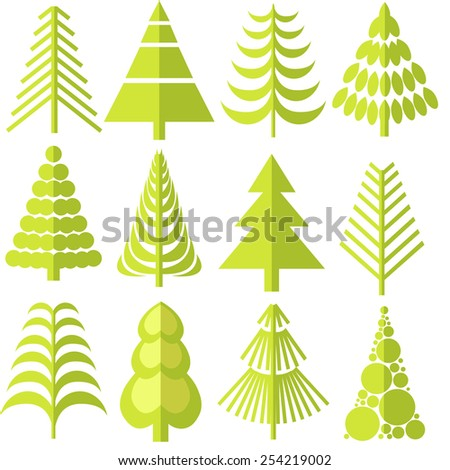 12 green trees of different shapes - stock vector
