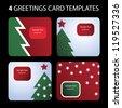 4 greetings card templates - stock photo