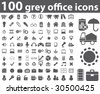 100 grey office icons.vector - stock