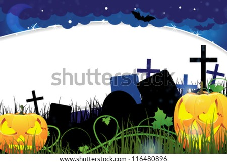 Grinning Jack o Lanterns with glowing eyes on a night cemetery. Abstract Halloween  background - stock vector
