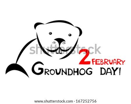 Groundhog day. Vector illustration  - stock vector
