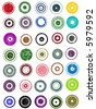 35 Grunge Circle Graphic Elements (Individually grouped, colors can easily be changed) - stock vector