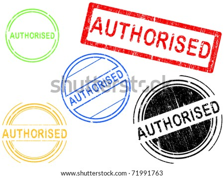 5 Grunge effect Office Stamp with the word AUTHORISED in a grunge splattered text. (Letters have been uniquely designed and created by hand) - stock vector