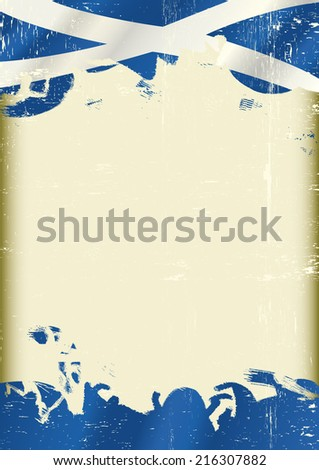 Grunge Scottish flag. A poster with a large scratched frame and a grunge flag of Scotland for your publicity. - stock vector