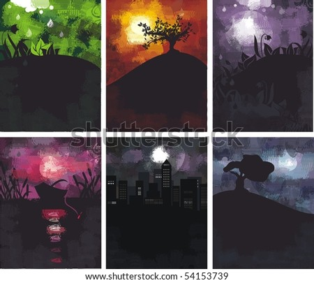 6 grungy backgrounds - stock vector
