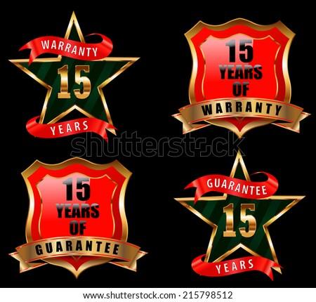 15 guarantee and warranty badge, guarantee sign, warranty label - vector eps 10 - stock vector