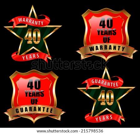 40 guarantee and warranty badge, guarantee sign, warranty label - vector eps 10 - stock vector