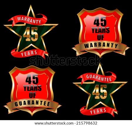 45 guarantee and warranty badge, guarantee sign, warranty label - vector eps 10 - stock vector