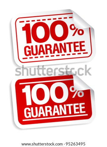 100% guarantee stickers set. - stock vector