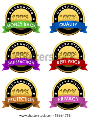 100% guaranteed labels set. - stock vector