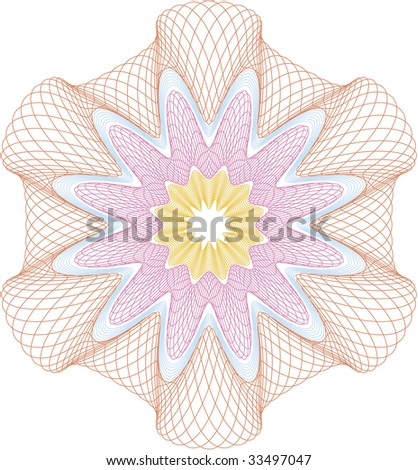 """""""Guilloche"""" rosette for security documents, elements are grouped for changing colors - stock vector"""
