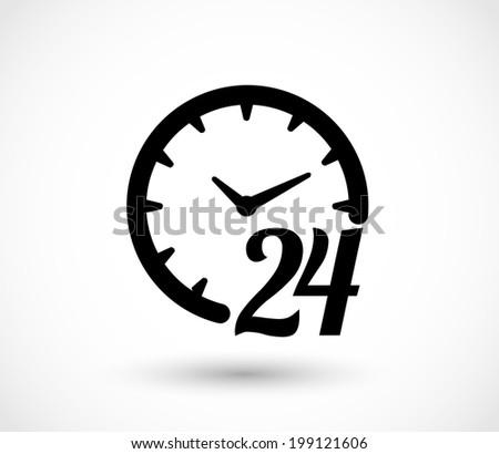 24 h clock icon vector - stock vector