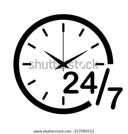 24 H vector icon - black illustration - stock vector