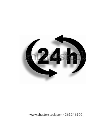24 h vector icon with shadow - stock vector
