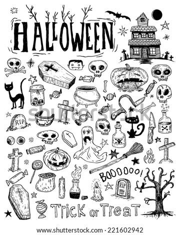 Halloween doodles elements. vector illustration - stock vector