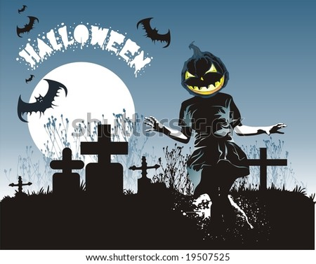 Halloween theme with pumpkin head kid in the cemetery under the moon and bats vector illustration - stock vector