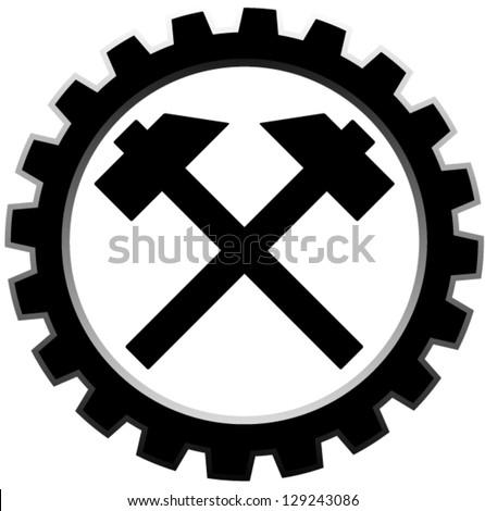- hammers on cogwheel - stock vector