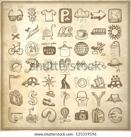 49 hand drawing doodle icon set on grunge paper background, travel theme - stock vector