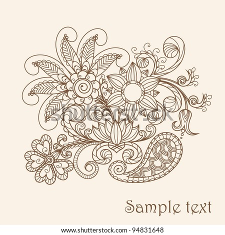 Hand-Drawn Abstract Henna Mehndi Abstract Flowers and Paisley  - pastel greeting card - stock vector
