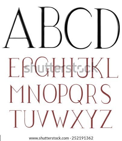 Hand drawn alphabet font. Isolated on white background .8 EPS  - stock vector