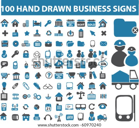 100 hand drawn business signs. vector. see more professional signs in my portfolio - stock vector