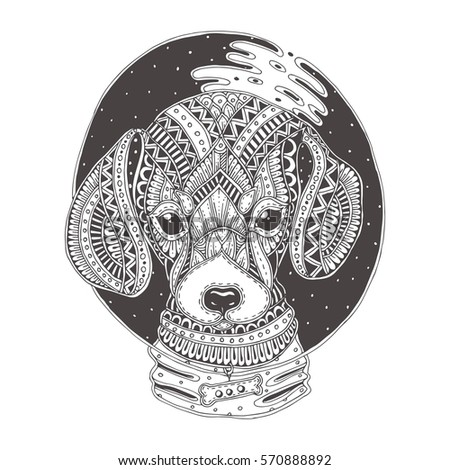 Hand Drawn Dog With Ethnic Floral Pattern. Coloring Page   Zendala, Design  For