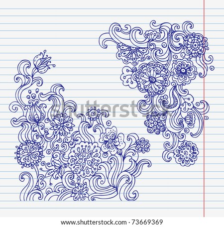 Hand-drawn doodle flower set	 - stock vector