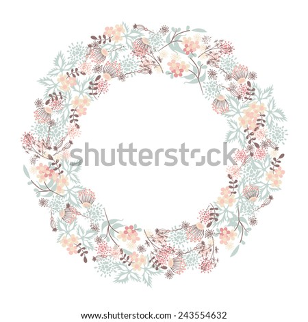 Hand-drawn floral wreathes - stock vector
