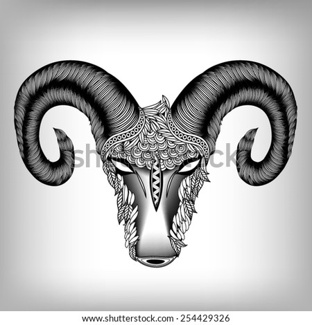 Hand Drawn Head of Aries Illustration, Vector background EPS 8 - stock vector
