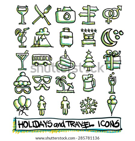 25 hand drawn holidays and travel icons collection. Vector format - stock vector