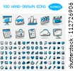 100 hand-drawn icons. Business - stock vector