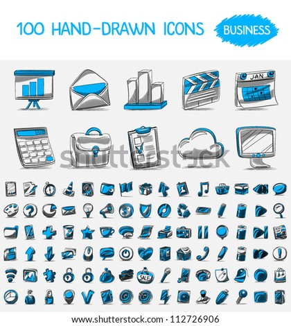 100 hand-drawn icons. Business