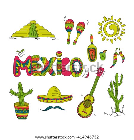 Hand drawn mexican symbols mexico stock vector 414946732 for Mexican logos pictures