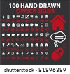 100 hand drawn office signs, vector - stock vector