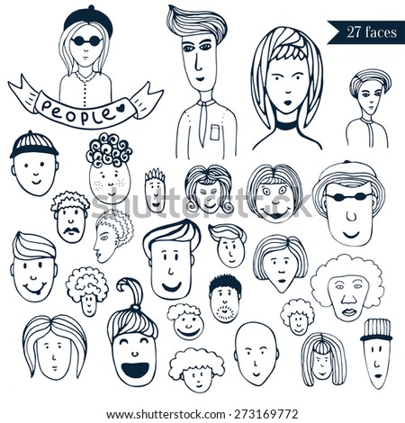 Hand-drawn people crowd doodle collection of avatars. Cartoon vector set. Sketch people icons. 27 different funny faces. - stock vector