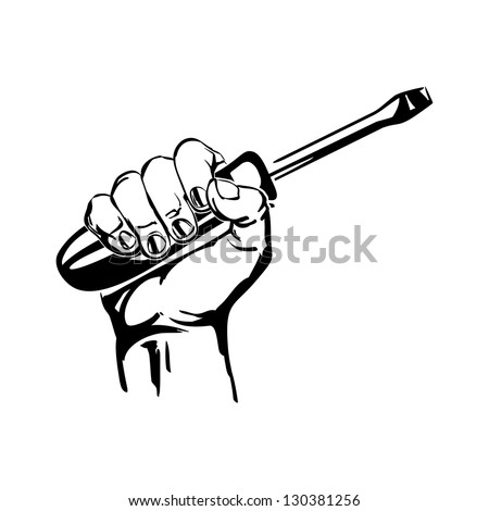 hand holding screwdriver vector black hand draw illustration
