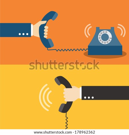 Hand holding telephone  - stock vector